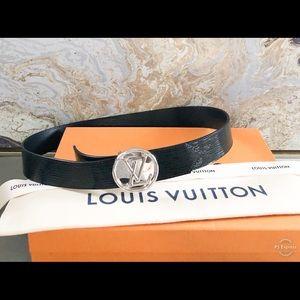 Louis Vuitton LV Circle Epi Black Leather Belt